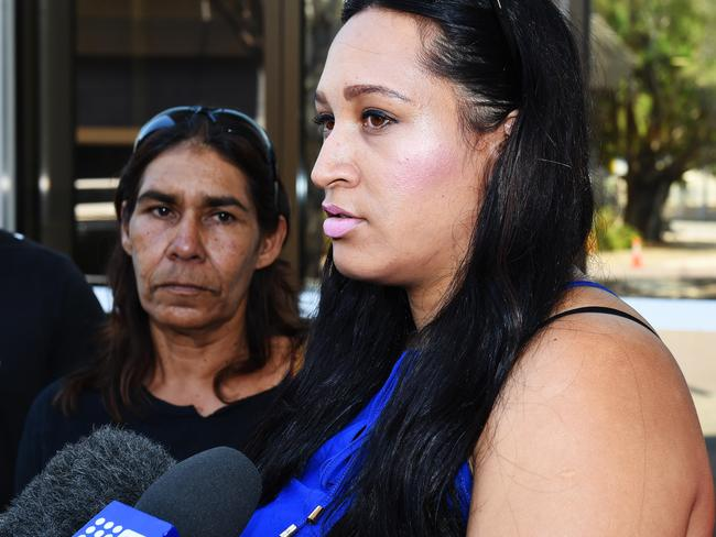 The family of Fabian Brock attend Darwin Magistrates Court after the young father was fatally shot in the head.