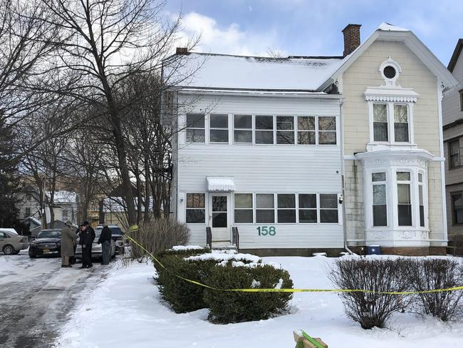 The body of a mother, her female partner and two children were found in the basement of this Troy, New York, apartment. Picture: Nicholas Buonanno/The Record via AP