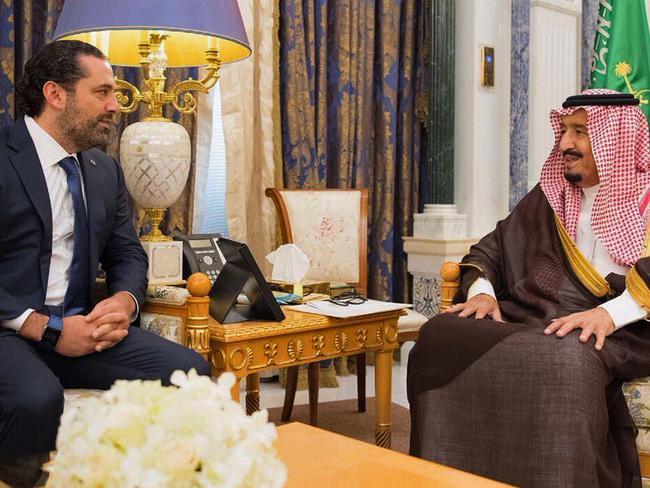 Saudi King Salman, right, meets with outgoing Lebanese Prime Minister Saad Hariri in Riyadh, Saudi Arabia on November six. Picture: AP