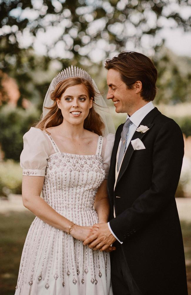 Princess Beatrice of York and her husband Edoardo Mapelli Mozzi in the grounds of the Royal Lodge, Windsor. Picture: Benjamin Wheeler/Buckingham Palace/AFP