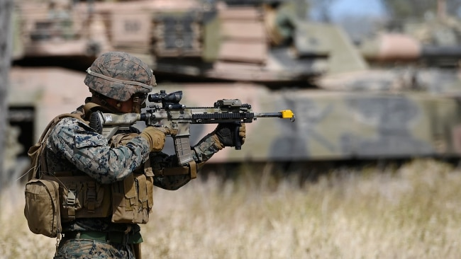 A U.S Marine participates in an Urban assault as part of Exercise 'Talisman Sabre 21' on July 27 in Townsville.  Picture: Getty
