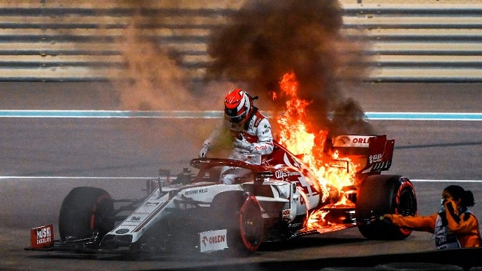 Kimi Raikkonen stayed ridiculously calm after his car caught on fire.