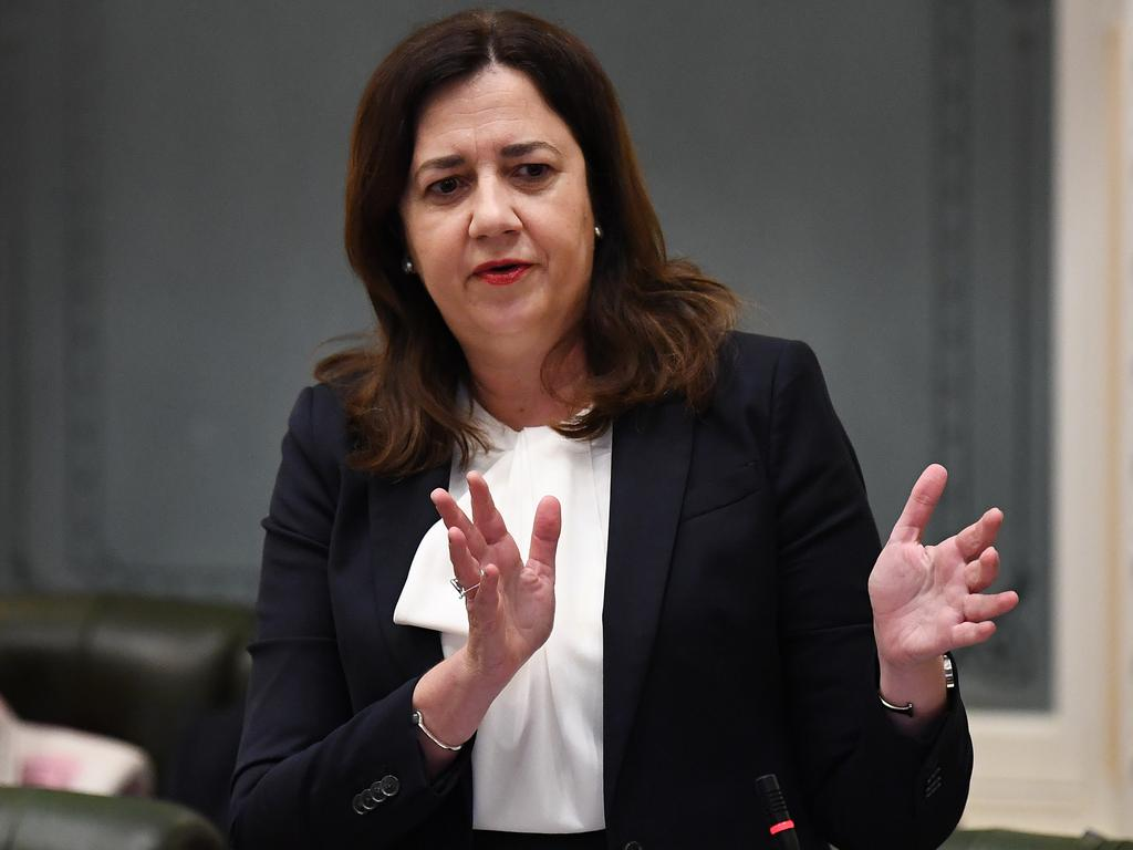 Annastacia Palaszczuk ripped into the Morrison government in Queensland parliament on Wednesday. Picture: NCA NewsWire/Dan Peled