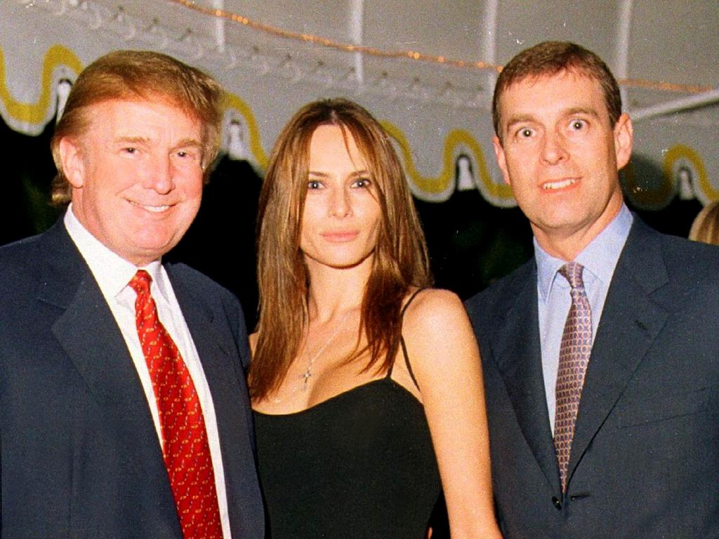 Donald Trump with then girlfriend Melania Knauss and Prince Andrew at the US President's Palm Beach estate Mar-a Lago in 2000. Picture: Davidoff Studios/Getty Images