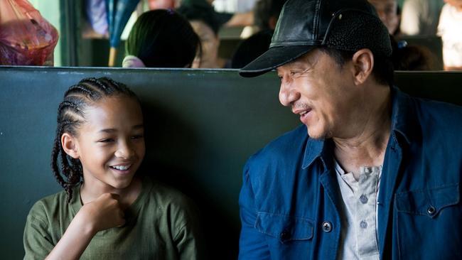 Jaden Smith as Dre and Jackie Chan as Mr Han. Oh dear.