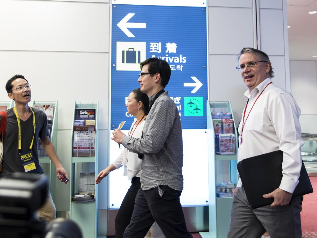 Alek Sigley arrives in Japan. Picture: Tomohiro Ohsumi/Getty Images.