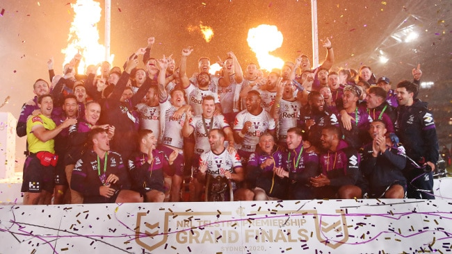 The 2020 NRL Grand Final, won by the Melbourne Storm, was played in Sydney with a 50 per cent capacity crowd but the Delta outbreak has made that impossible this year. Picture: Cameron Spencer/Getty Images