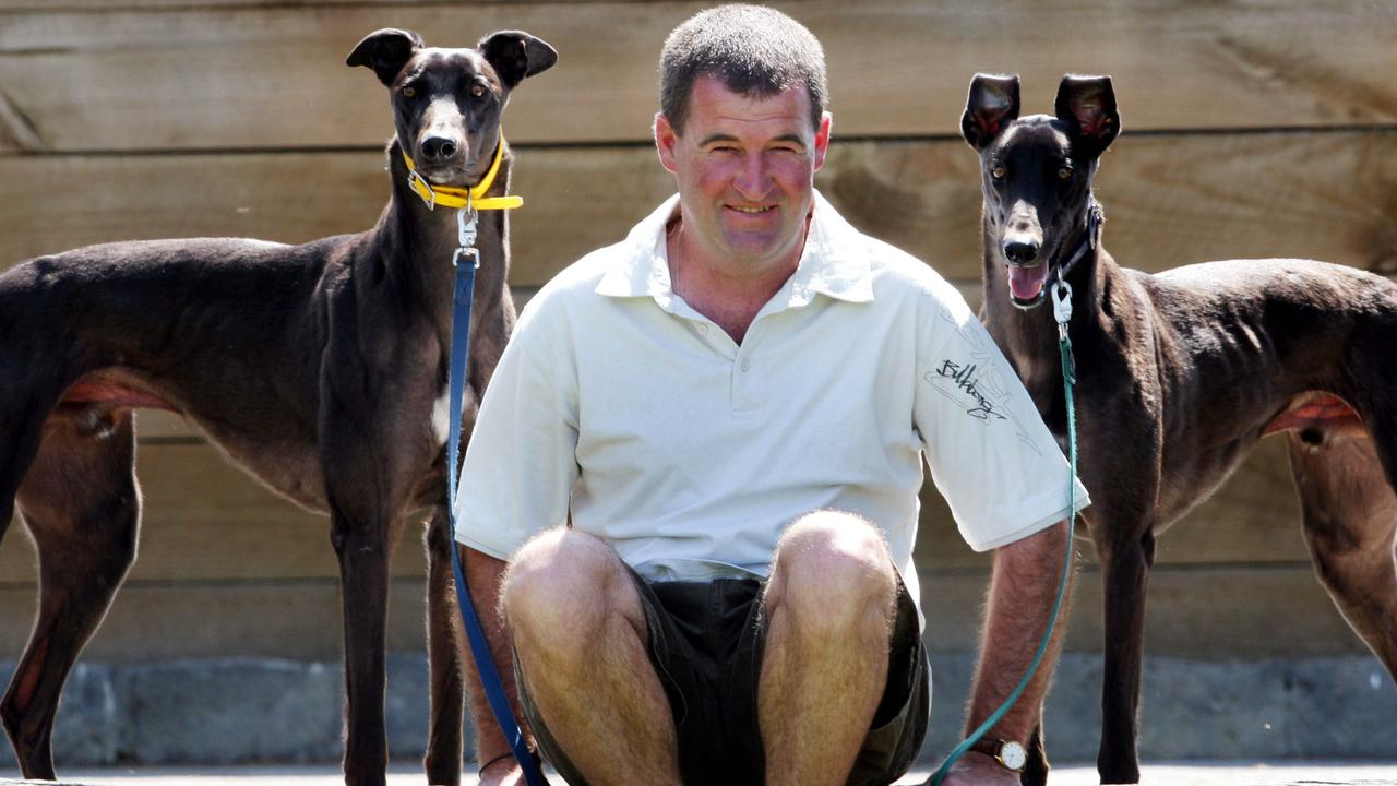 Greyhound Melbourne Cup finalists; Trainer Darren McDonald with his two starters, Shanlyn Prince (left) and All Caution (right). Greyhounds.