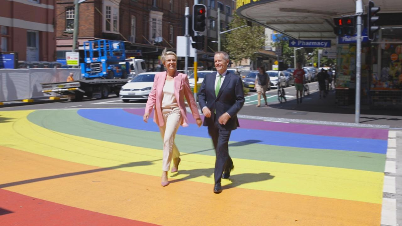 Bill Shorten, here with Tanya Plibersek, says he will be the first Australian prime minister to complete the Mardi Gras march if he wins the next election. Picture: news.com.au