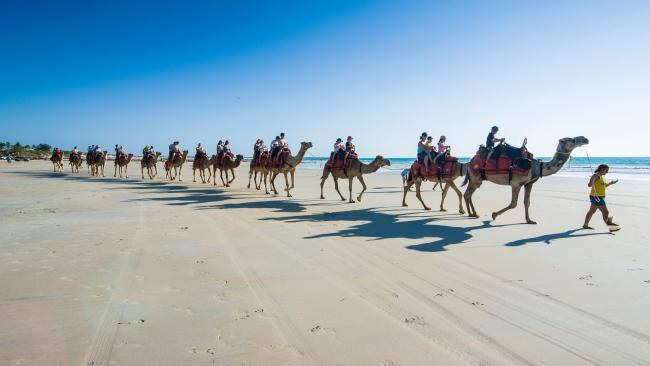 Riding on camels on Cable Beach, Broome. Picture: Supplied