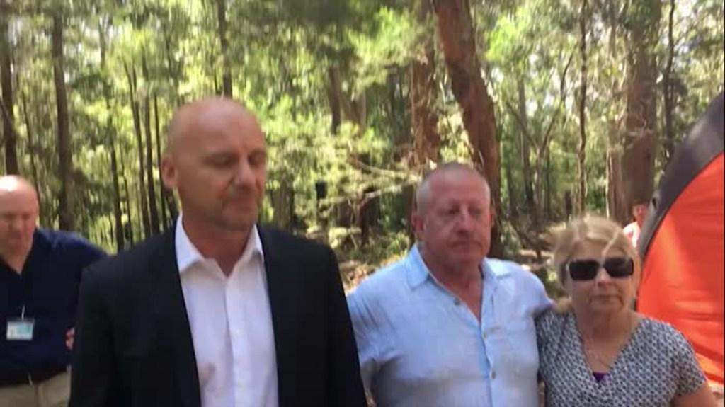 The parents of missing man Matthew Leveson talk to media