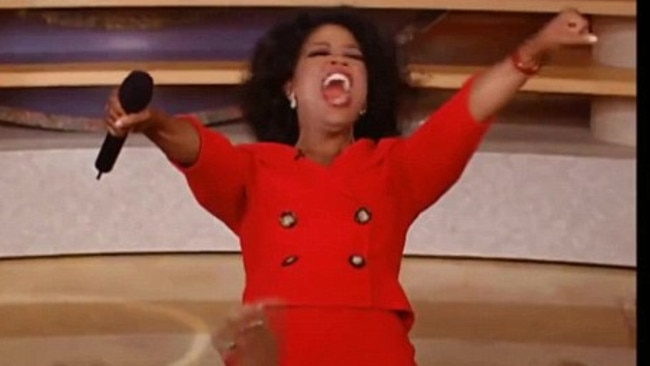 """The moment where Oprah screamed """"you get a car"""" became so iconic, people turned it into a meme. Picture: YouTube"""