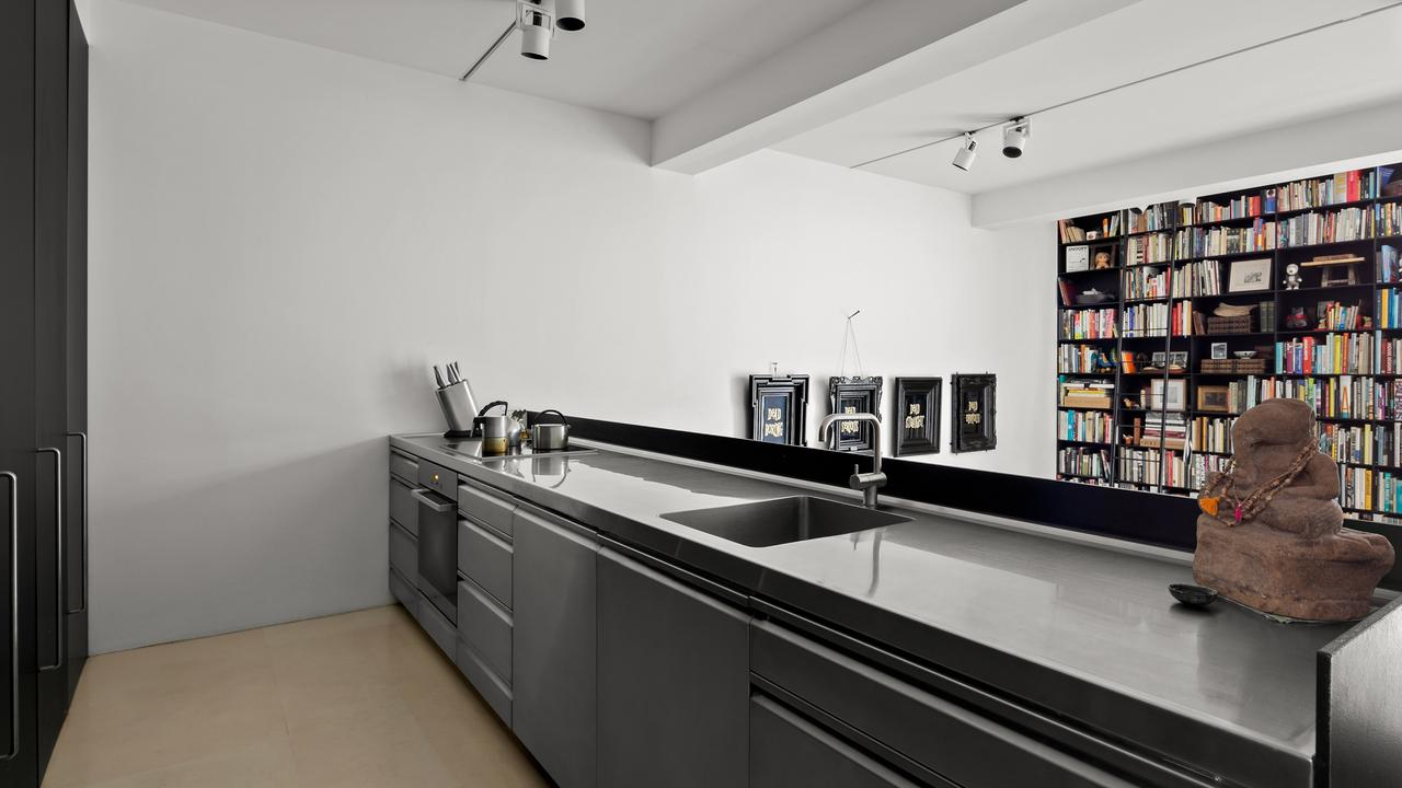 The stainless steel kitchen.