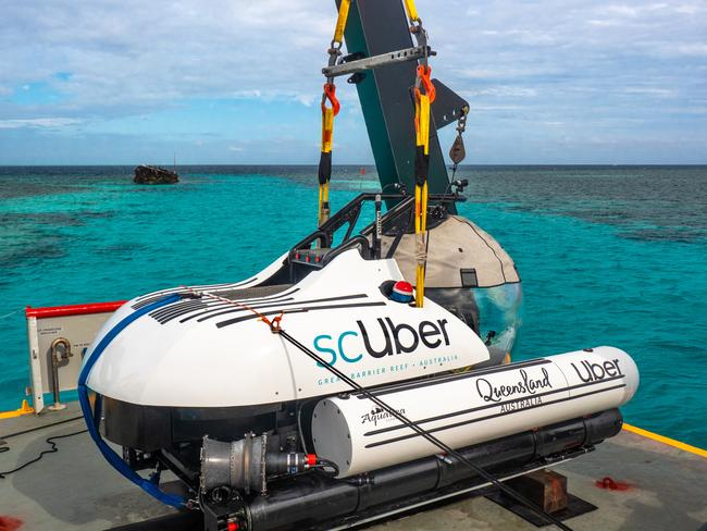 LAUNCHING THE SCUBER SUBMARINE The scUber submarine isn't your stereotypical movie-like submarine. Measuring in at 5.1m x 2.5m x 2.2m, it has a huge viewing chamber that gives passengers 180 degree views of everything happening underwater. Picture: Mark Fitz
