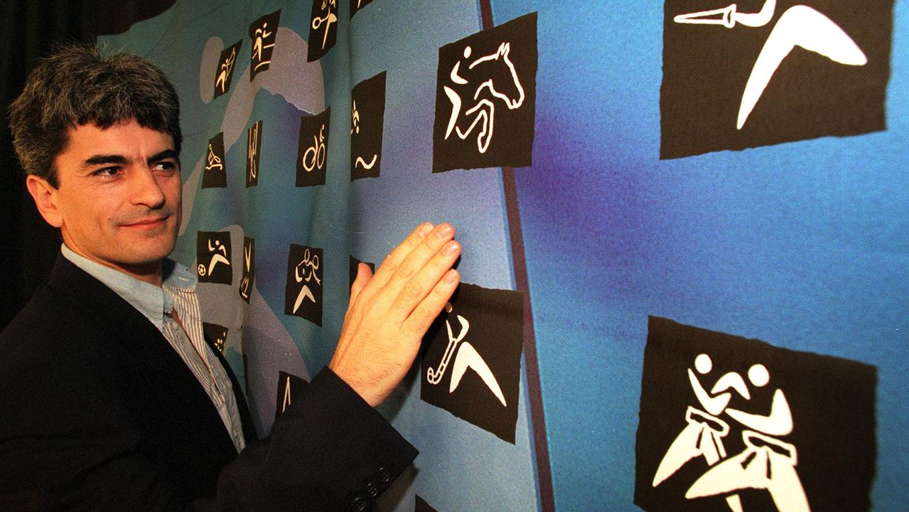 Logo designer Paul Saunders with his pictograms that will be used during Sydney 2000 Olympic Games following 21/05/98 launch. Pictogram