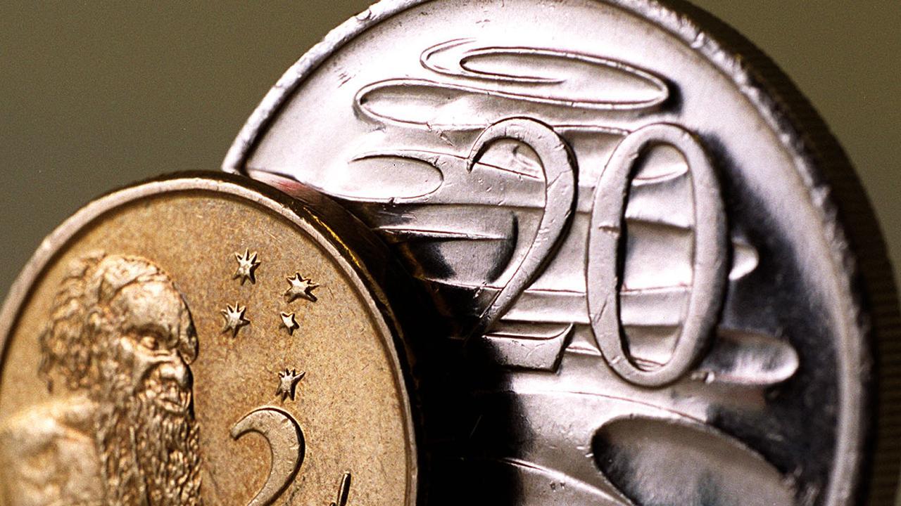 An Australian $2 coin and 20c piece.