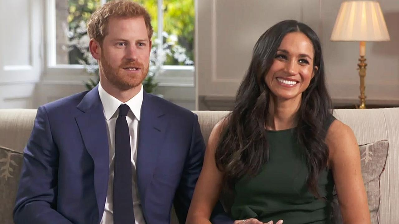 Prince Harry and Meghan Markle during their interview after announcing their engagement on November 27, 2017.