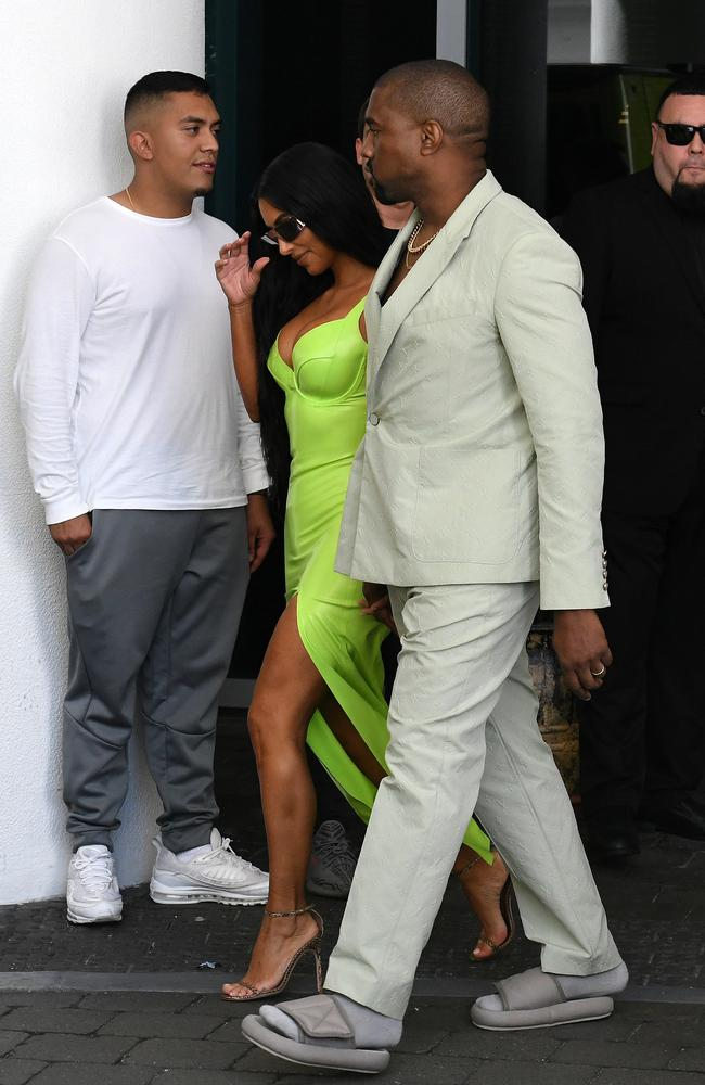 Kanye West's shoes didn't seem to fit. Picture: Mega