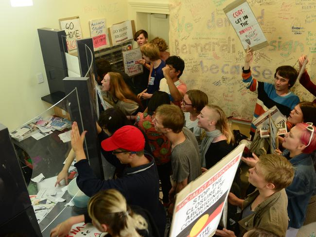 Student protesters trash Cory Bernardi's reception area at his Kent Town office in Adelaide. Picture: Mark Brake