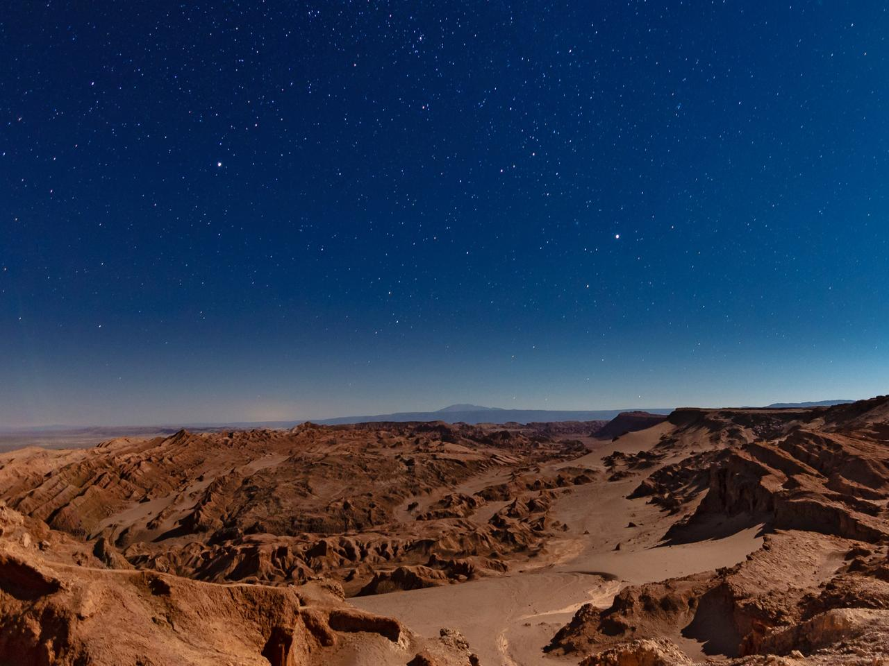 Moon Valley with the stars night