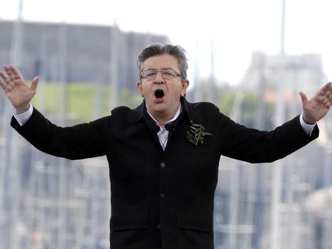 Jean-Luc Melenchon, speaking in Marseilles, has been improving his position in the opinion polls. Picture: AP Photo/Claude Paris