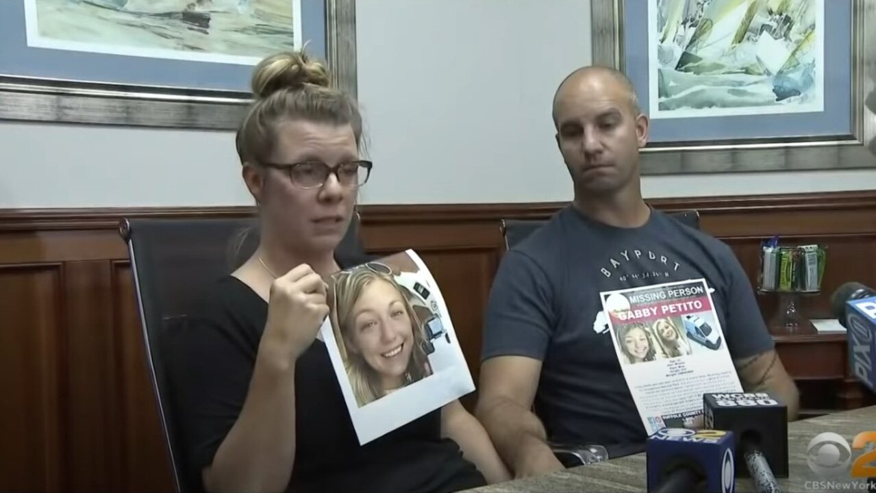 Nichole Schmidt and stepfather James Schmidt appealing for information before she was found. Picture: CBS New York