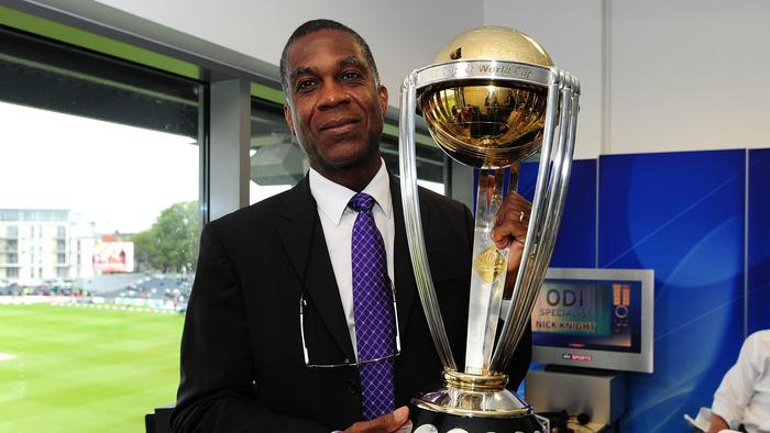 BRISTOL, ENGLAND - AUGUST 25: Former West Indian Cricketer, Michael Holding poses with the ICC Cricket World Cup Trophy during the England v India One Day International at The County Ground on August 25, 2014 in Bristol, England. (Photo by Dan Mullan/Getty Images for ECB)
