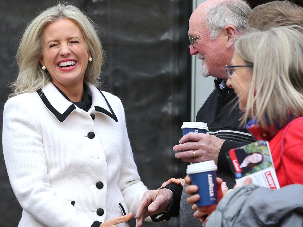 Chloe Shorten hit the hustings on her own to support Labor's candidate Libby Coker. Picture: Mike Dugdale