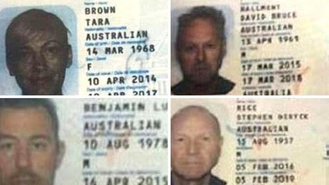Leaked copies of the passports of the <i>60 Minutes</i> crew surfaced late yesterday, after they were reported to be confiscated by Lebanese police. Pictured (clockwise from left) reporter Tara Brown, sound recordist David Ballment, cameraman Ben Williamson and producer Stephen Rice.