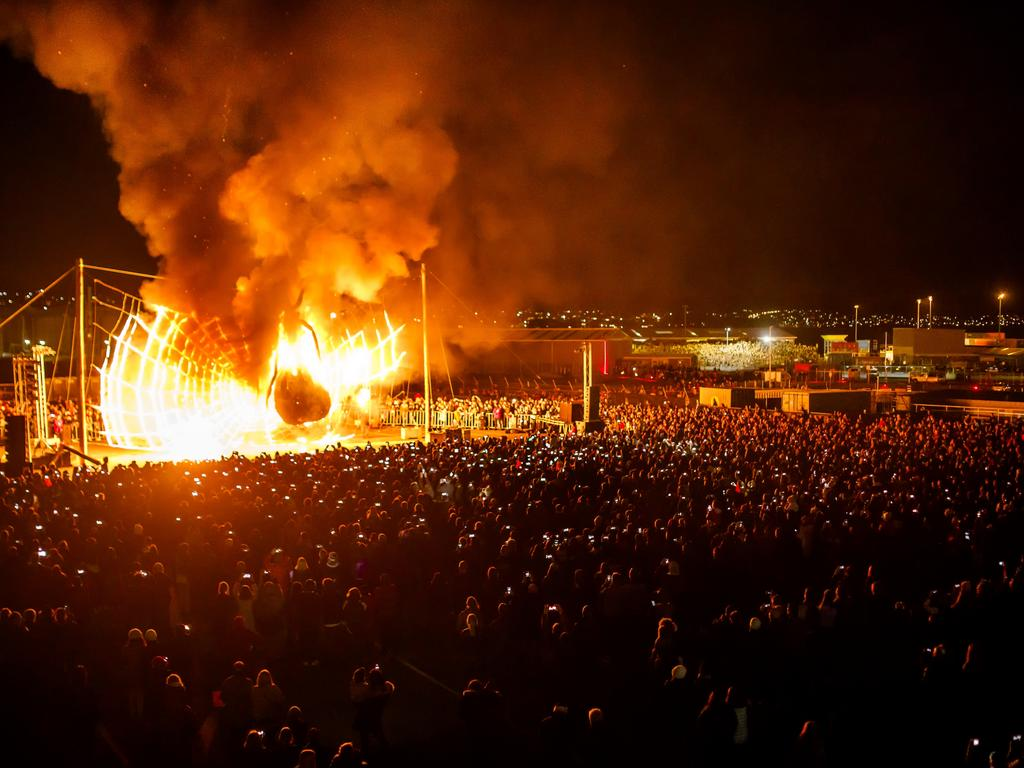 The Burning of the Ogoh-Ogoh draws a crowd. Picture: Dark Mofo/Jesse Hunniford