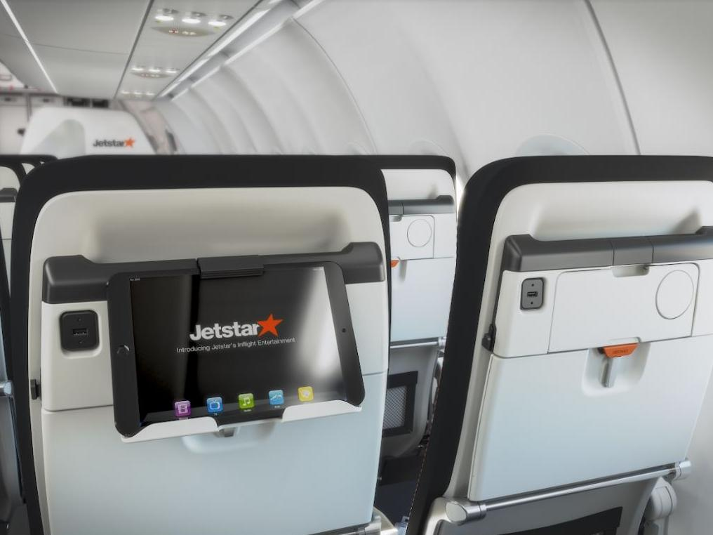 In a genius move, Jetstar's adding cradles for smartphones and tablets.