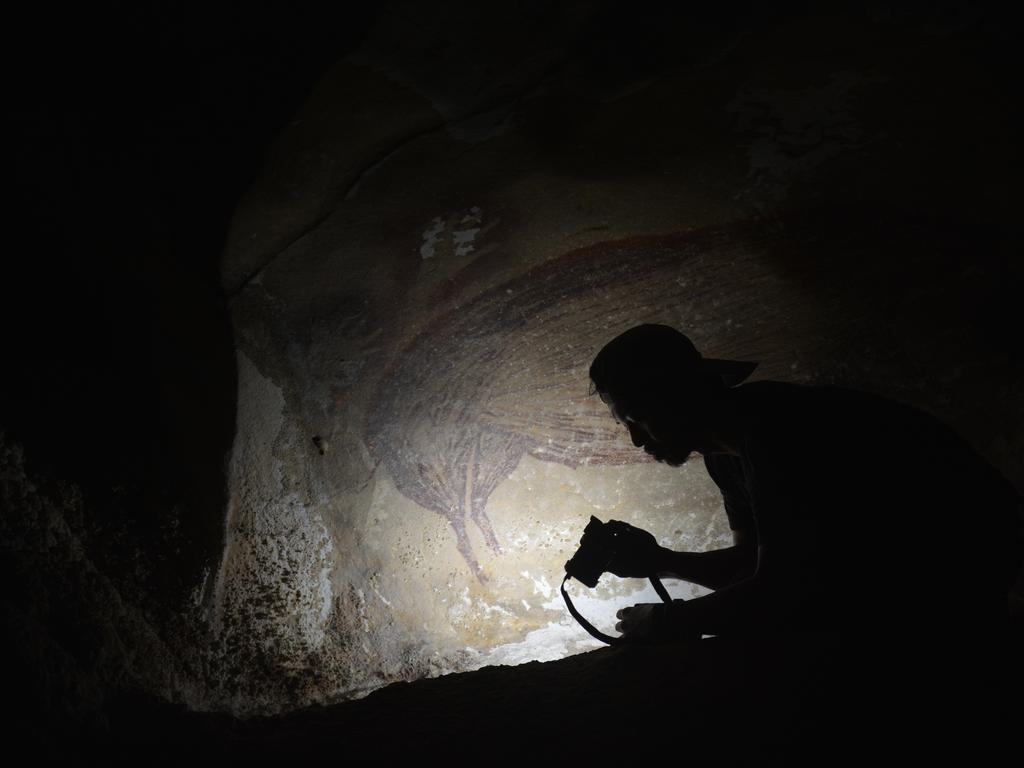 Researchers trekked to a remote cave in the limestone mountains on the Indonesian island. Picture: AA Oktaviana