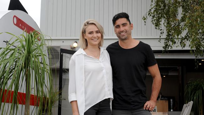 Claire and Hagan Rice at their home at 15 Guest St, Tootgarook. Picture: Andrew Henshaw