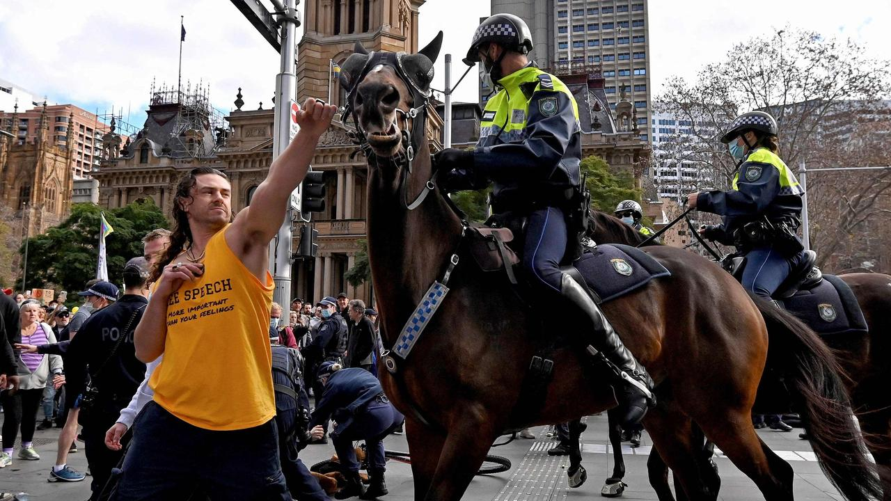 Anti-vaccination and anti-lockdown protests have been held across Australia throughout the year. Picture: AFP