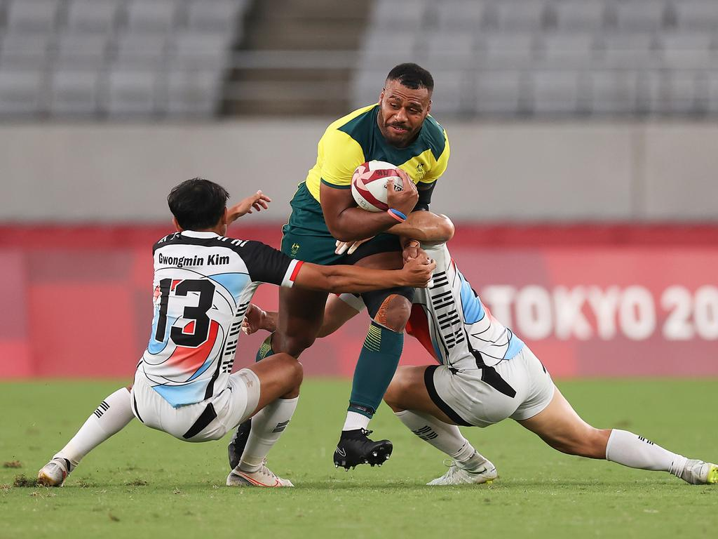 Samu Kerevi charges through the South Korean defence during Australia's rugby sevens Tokyo Olympics campaign. Picture: Dan Mullan/Getty Images