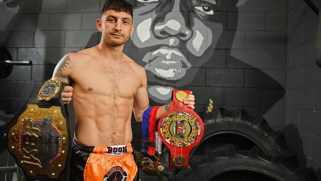 Jordan Fielding at Strong Heart Muay Thai gym in Hindmarsh. Picture: Tom Huntley