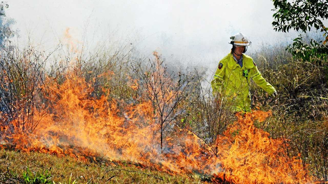 Queensland Fire and Rescue Services fire fighters from the Ripley Station were on hand to control a small grass fire at Yamanto. Photo: David Nielsen / The Queensland Times. Picture: David Nielsen