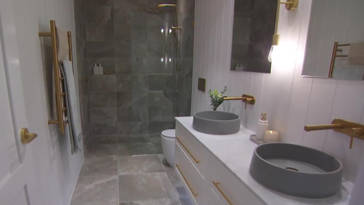 The size and scale of Kirsty and Jesse's powder room flawed the judges. Picture: Supplied, Channel 9