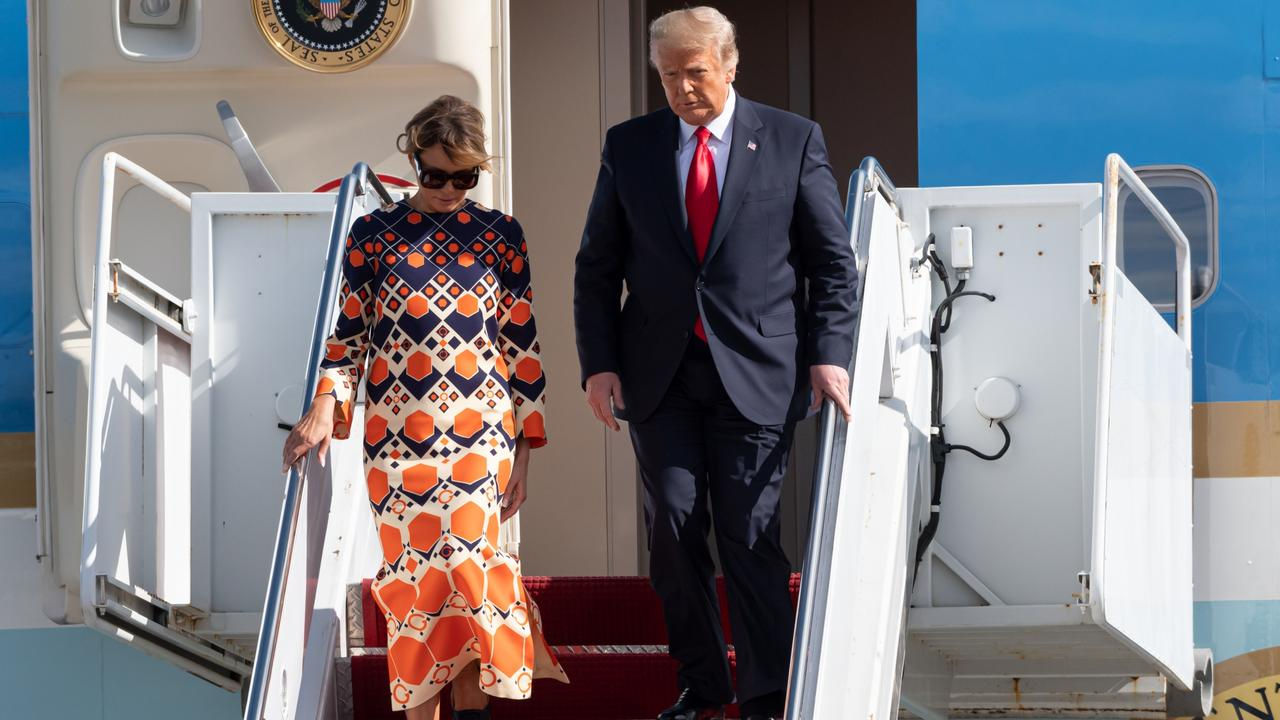 Melania Trump kicked off her new, post-White House life with a colourful Gucci kaftan. Picture: Noam Galai/Getty Images