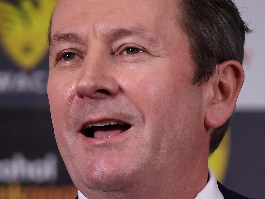 PERTH, AUSTRALIA - AUGUST 19: WA Premier Mark McGowan addresses the media and guests following the ground redevelopment sod-turning ceremony at the WACA on August 19, 2021 in Perth, Australia. (Photo by Paul Kane/Getty Images for Cricket Australia)