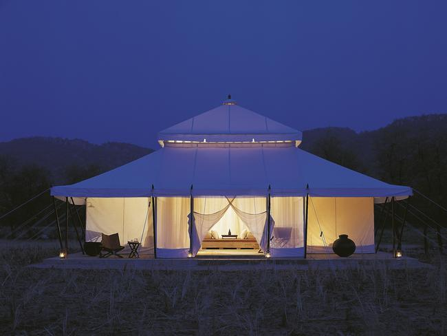 AMAN-I-KHAS, RANTHAMBORE, INDIA: This luxury tented camp shot to fame in 2010 when Katy Perry and Russell Brand held their wedding there — and while the marriage didn't last, the resort's appeal lives on. Located on the outskirts of Ranthambore National Park, the camp's 10 airconditioned tents each measure 108sq m — as big as a house — so there's plenty of room for luxurious furnishings, a bathtub, twin vanities and writing desks, a sundeck and king size bed.