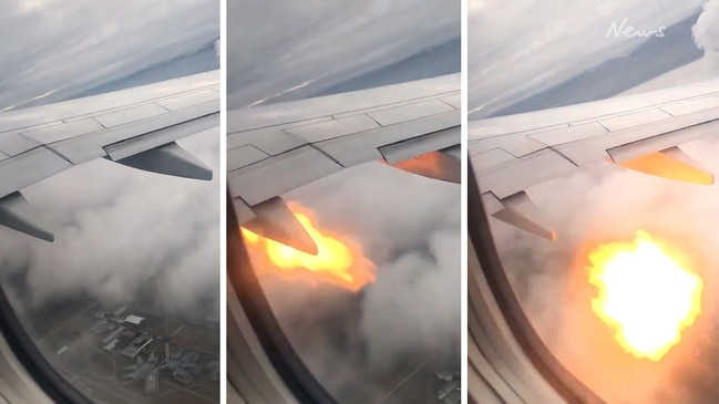 Terrified passengers write 'goodbye messages' after plane engine sets on fire