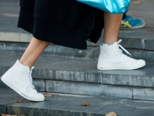 All-white sneakers. Image: Getty Images