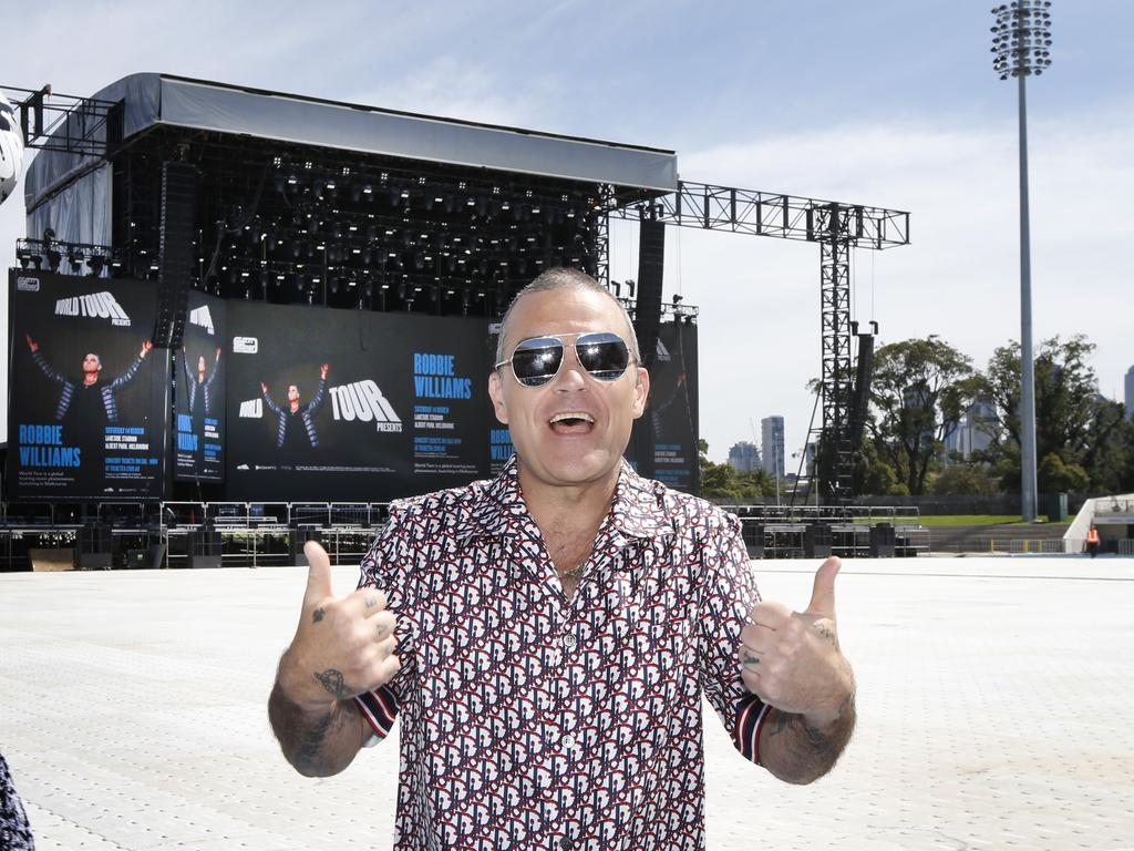 Robbie Williams visits the staging area for his concert at the Australian Grand Prix 2020. Picture: David Caird