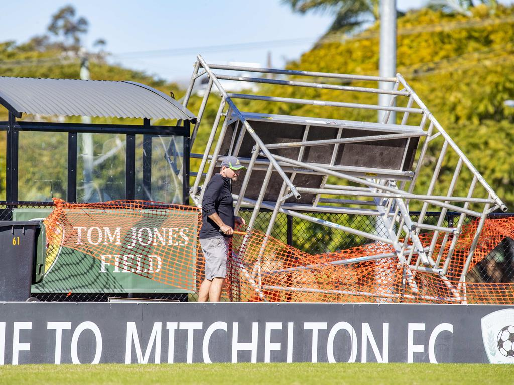 The man had been watching a football game at midday on Sunday when the scaffolding fell on him. Picture: Richard Walker