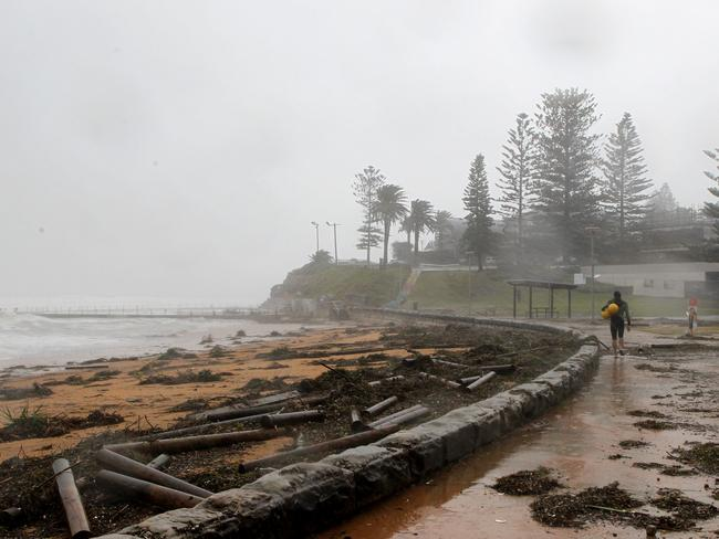 Debris washed ashore at Collaroy beach during the east coast low that hit NSW on Saturday. Picture: Hollie Adams