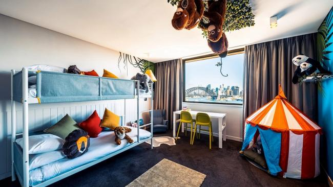 13/20Jungle Room, View Hotel Sydney Go on safari in the urban jungle in this room overlooking Sydney Harbour. There are bunk beds, a teepee, books, toys, cosy cushions and a huge window where you might even spot climbers on the Sydney Harbour Bridge.