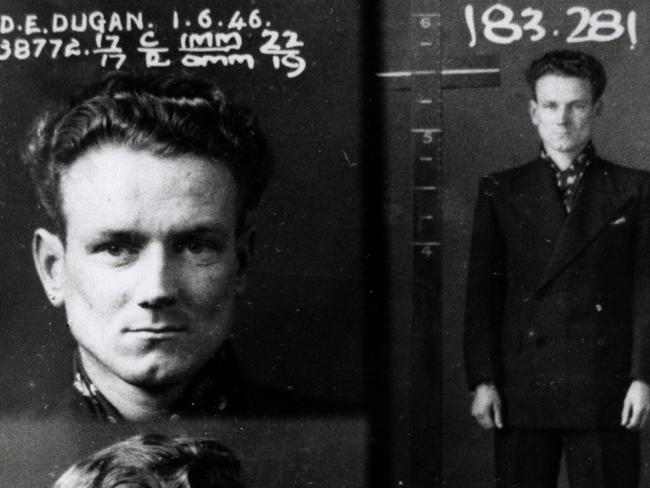 Police mug shot of criminal Darcy Dugan in the Sydney police cells in 1946 when he famously escaped a prison vehicle en route to Long Bay Jail. Picture: Sydney Living Museums.