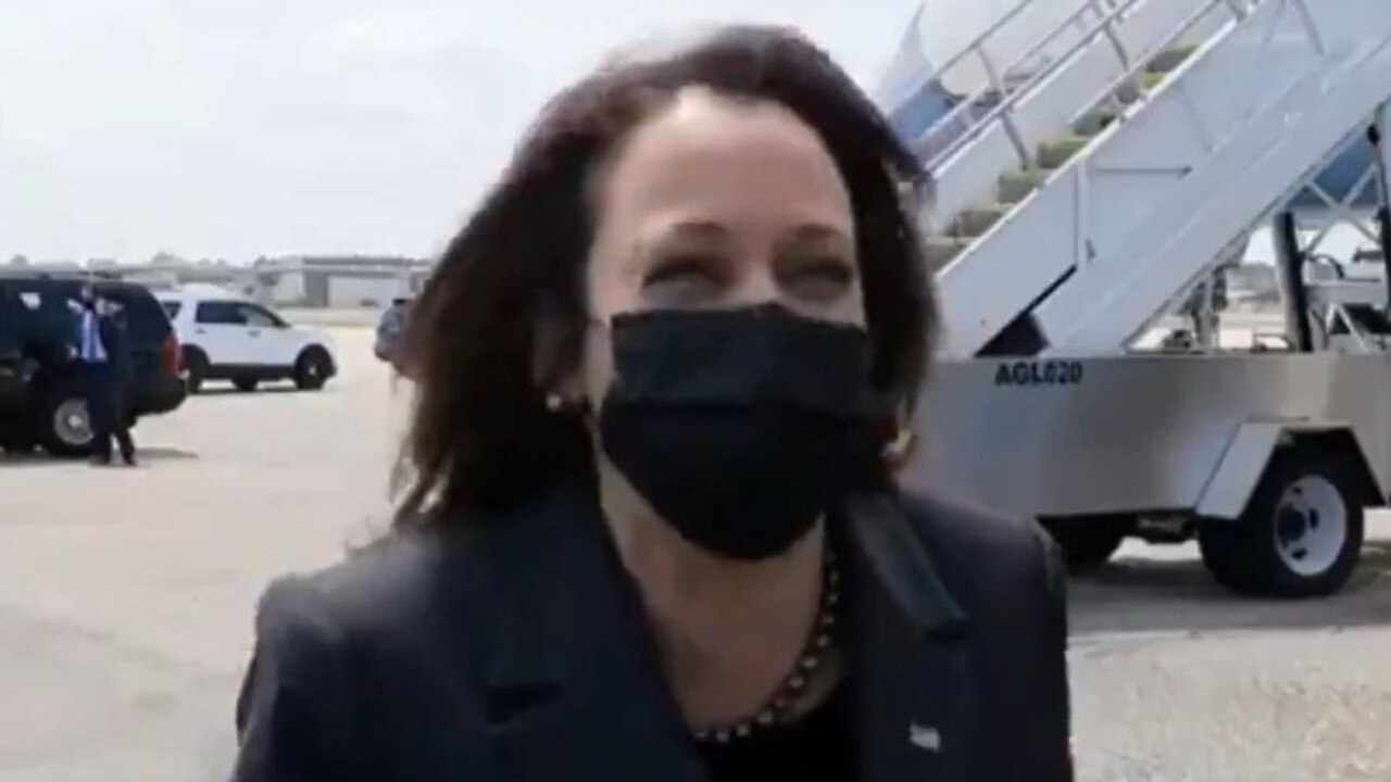 'Not today,' Vice President Kamala Harris responded when asked if she had plans to visit the border, before bursting out into laughter outside of air force One. Picture: CBS News 47