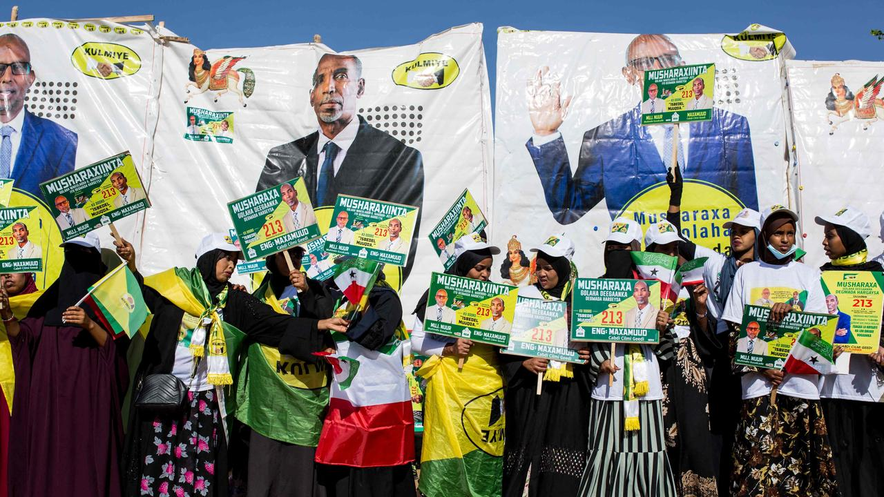 Supporters dance and chant during a rally of the ruling Kulmiye Party for Somaliland's elections. Picture: Mustafa Saeed/AFP